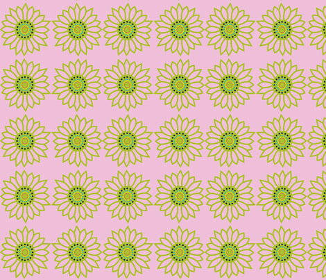 Mandala Flower in Lime and Pink fabric by theartwerks on Spoonflower - custom fabric