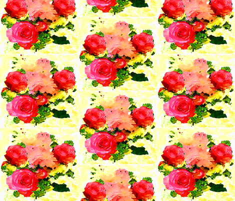 Watercolor Floral Bouquet in Light Yellow fabric by theartwerks on Spoonflower - custom fabric