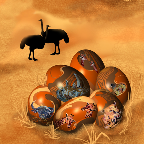 Ostrich_and_Eggs. fabric by art_on_fabric on Spoonflower - custom fabric