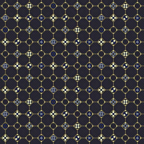 mosaic_metalwork blue fabric by glimmericks on Spoonflower - custom fabric