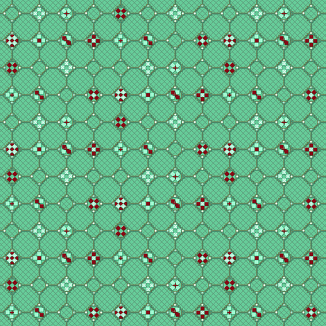 mosaic metal work green mint fabric by glimmericks on Spoonflower - custom fabric