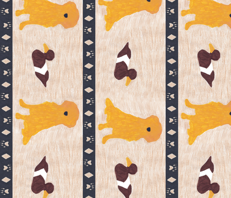 Primitive Golden Retriever and duck decoy - large border length fabric by rusticcorgi on Spoonflower - custom fabric
