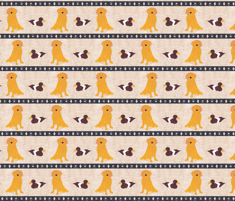 Primitive Golden Retriever and duck decoy - small border fabric by rusticcorgi on Spoonflower - custom fabric