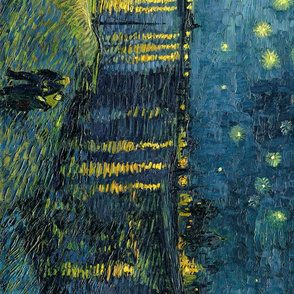 Starry Night Over the Rhone by Van Gogh, seamless repeat