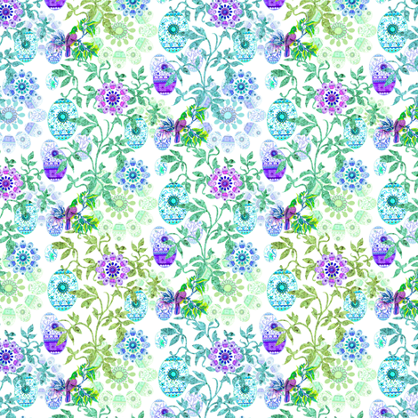 Lesley_Decorque   Enchanted Easter Egg Tree Design. fabric by lesley_decorque on Spoonflower - custom fabric