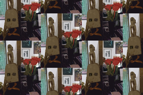 Still life with Dogan White Monkey Mask fabric by susaninparis on Spoonflower - custom fabric