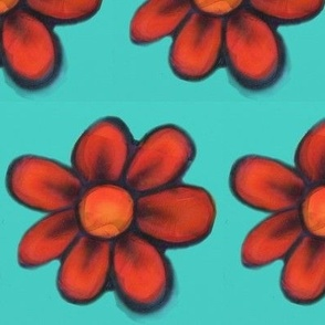 Red Flowers with Teal