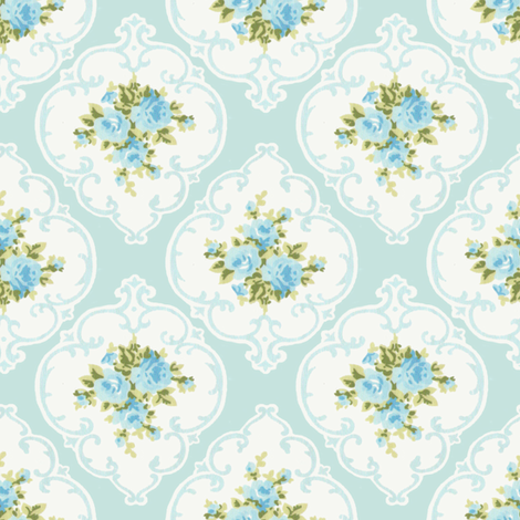 Aqua Cameo Roses by paris bebe fabrics fabric by parisbebe_com on Spoonflower - custom fabric