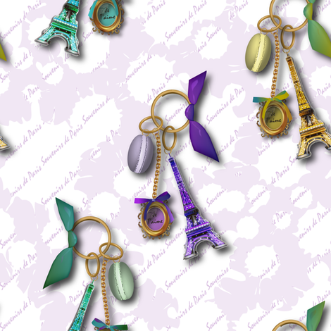 Souvenirs de Paris (Lavender) fabric by vannina on Spoonflower - custom fabric