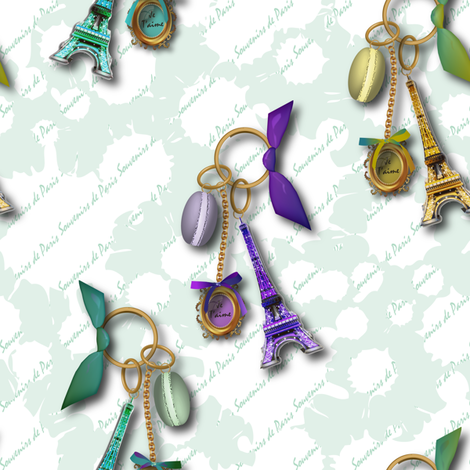 Souvenirs de Paris (Almond) fabric by vannina on Spoonflower - custom fabric