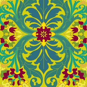 Art Nouveau22-teal/raspberry-Large