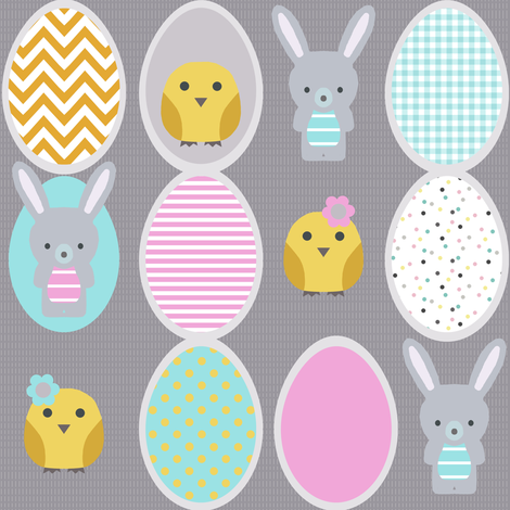 Easter eggs, chick and bunny fabric by katarina on Spoonflower - custom fabric