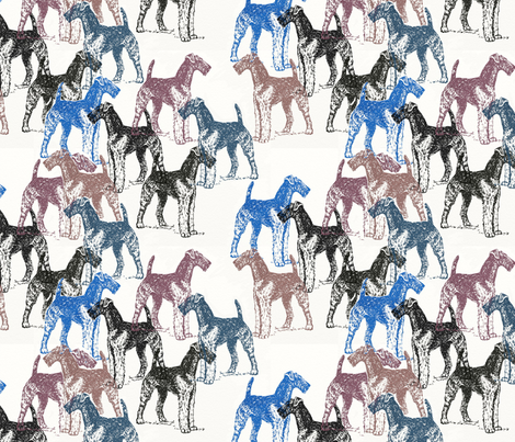 airedale terriers stencil fabric fabric by dogdaze_ on Spoonflower - custom fabric