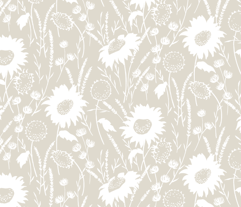wildflowers - flax fabric by jillbyers on Spoonflower - custom fabric