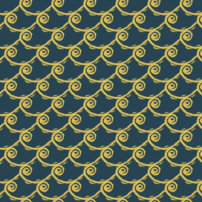 Linocut Wave Number 1 - Navy and Gold