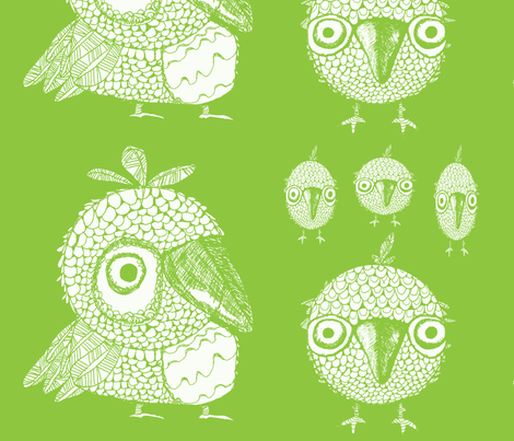 Whimsical Green Birds fabric by artthatmoves on Spoonflower - custom fabric