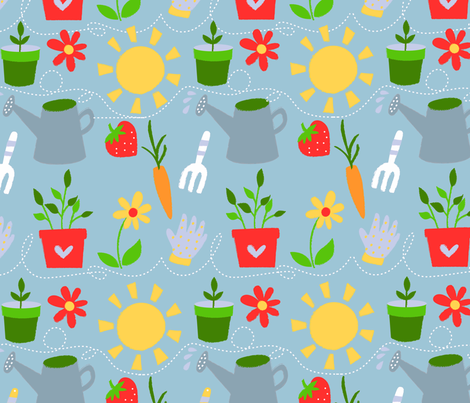 Spring Garden Tools fabric by monalila on Spoonflower - custom fabric