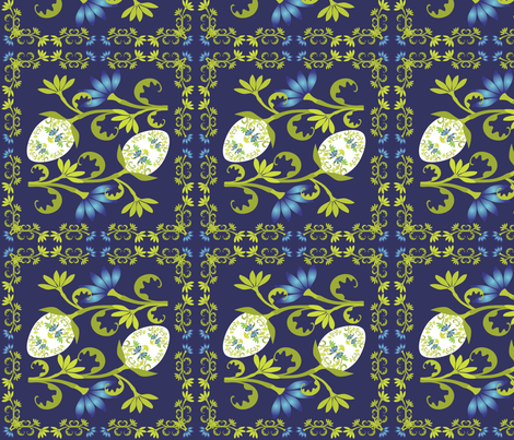 Egg Floral on Midnight Blue fabric by linda_santell on Spoonflower - custom fabric