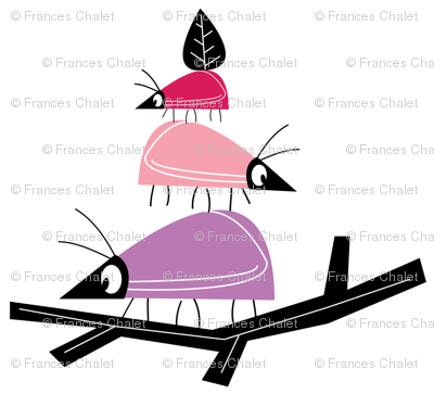 Balancing beetles in pink. Small.