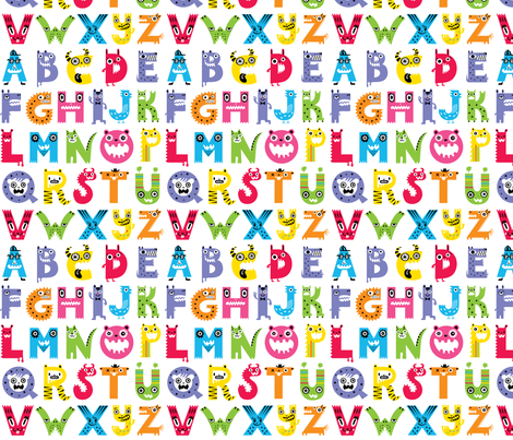 alphabet monster pattern fabric by andibird on Spoonflower - custom fabric