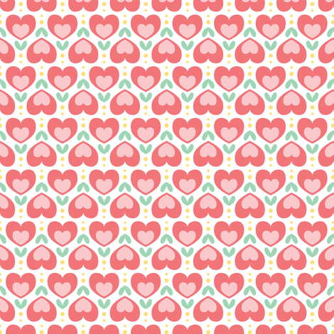 Fleurs de coeurs fabric by petitspixels on Spoonflower - custom fabric