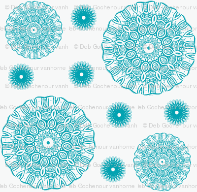 ruffled spirals in aqua