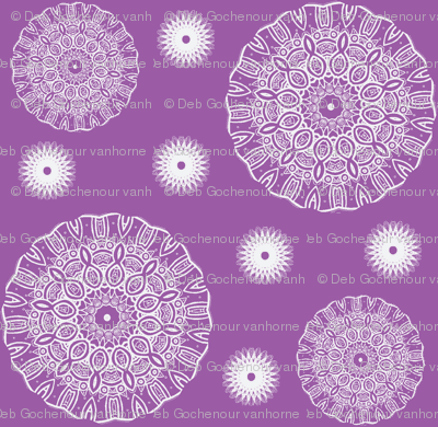 ruffled spirals in white on lavender