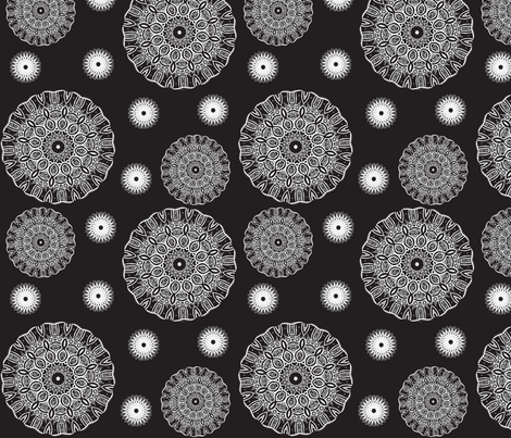 ruffled spirals in white on black fabric by vos_designs on Spoonflower - custom fabric