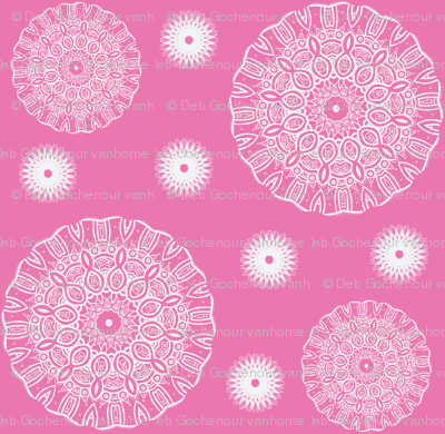 ruffled spirals in white on pink