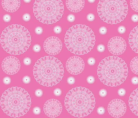 ruffled spirals in white on pink fabric by vos_designs on Spoonflower - custom fabric