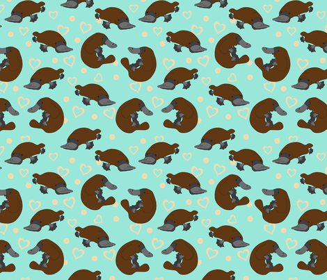 Platypus Love fabric by joannepaynterdesign on Spoonflower - custom fabric
