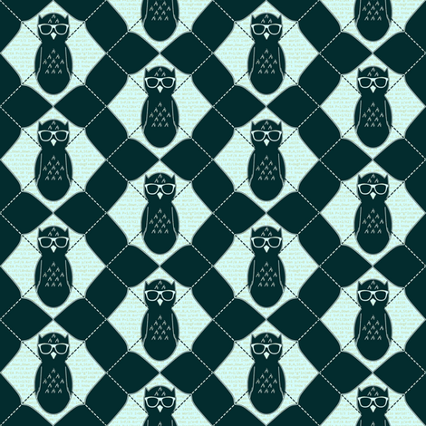 Equation Owl Chevron Invert Small fabric by spikymammal on Spoonflower - custom fabric