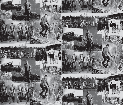 Victorian Bicycling: Medium Grey fabric by callioperosehandcarjones on Spoonflower - custom fabric