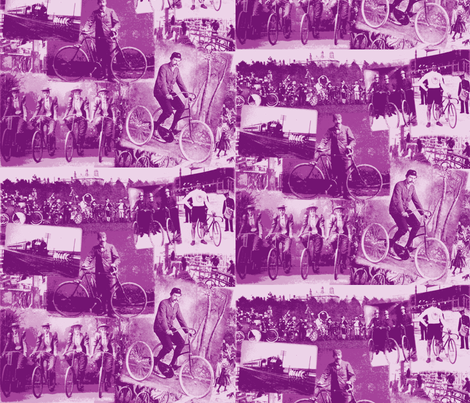 Victorian Bicycling: Medium Mauve (Purple) fabric by callioperosehandcarjones on Spoonflower - custom fabric