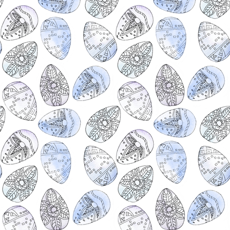 Watercolour_Eggs_Blue fabric by louiseisobel on Spoonflower - custom fabric