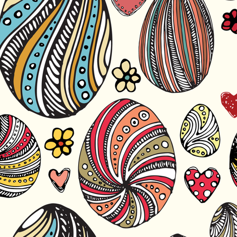 Hand drawn pattern with painted eggs