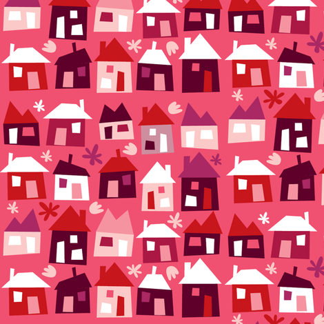 Houses - pink fabric by laura_the_drawer on Spoonflower - custom fabric