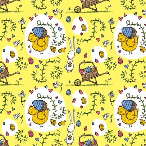 I would like all my eggs in one basket ... please fabric by laura_the_drawer on Spoonflower - custom fabric