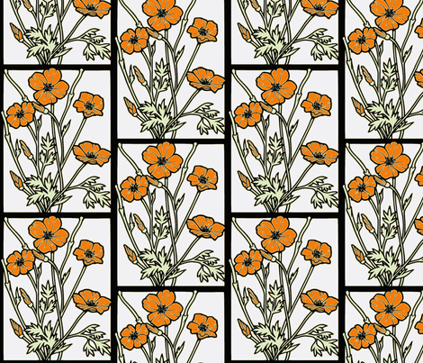 poppies_on_white-ed fabric by vos_designs on Spoonflower - custom fabric