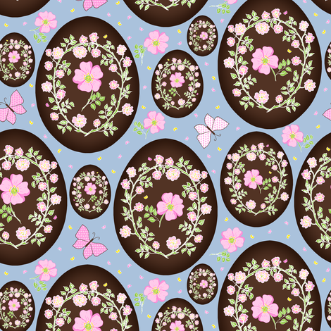 Sweet Eglantine on Chocolate fabric by rhondadesigns on Spoonflower - custom fabric