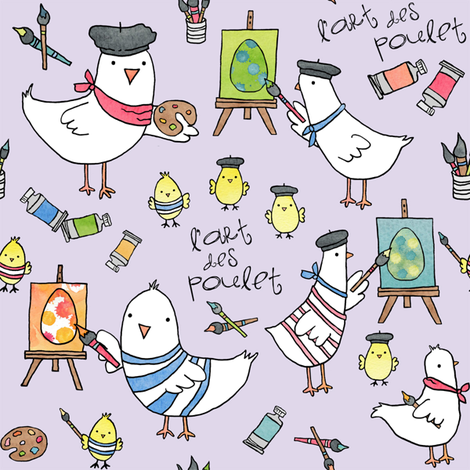 l'art des poulet! (pale lilac) fabric by pattyryboltdesigns on Spoonflower - custom fabric