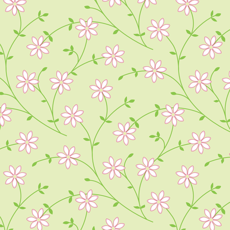 Daisy Vine light green fabric by jillbyers on Spoonflower - custom fabric