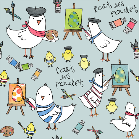 l'art des poulet! (robin's egg blue) fabric by pattyryboltdesigns on Spoonflower - custom fabric