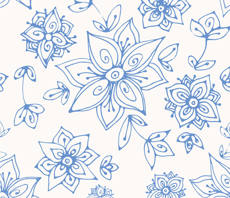Blue hand painted flowers fabric by smalty on Spoonflower - custom fabric