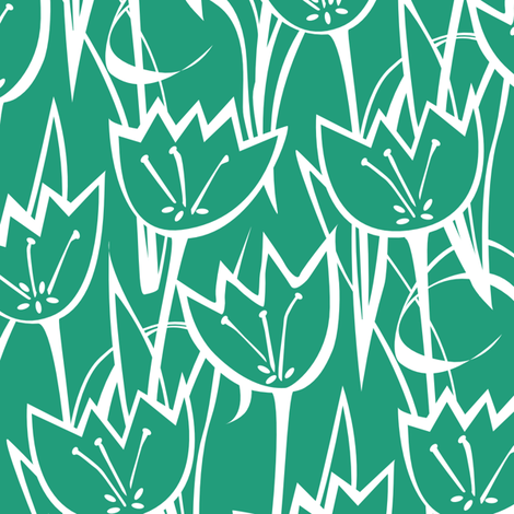 Tulips Emerald fabric by jillbyers on Spoonflower - custom fabric