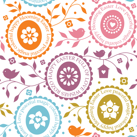 Happy Easter full of Love No.1 fabric by rozo on Spoonflower - custom fabric