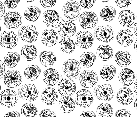 Antique spools - black and white fabric by martaharvey on Spoonflower - custom fabric