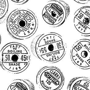 Antique spools - black and white