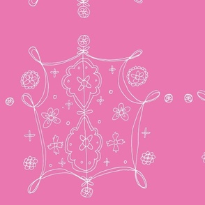 Whimsical Floral Lantern Pattern White and Pink