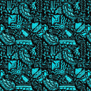 Teal and Black Vintage Tiki Motif